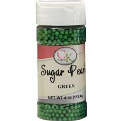 Green CK Sugar Pearls for cakes, cookies and cupcakes.