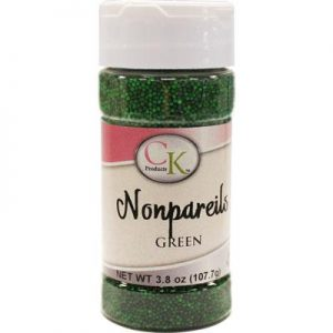 Green CK Nonpareils for cake decorating, cookies, cupcakes and candy