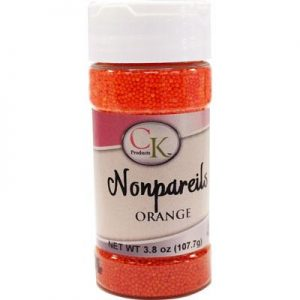 Orange CK Nonpareils for cake decorating, cookies, cupcakes and candy