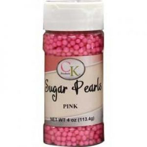 Pink CK Sugar Pearls for cakes, cookies and cupcakes.