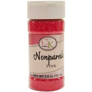 Pink CK Nonpareils for cake decorating, cookies, cupcakes and candy