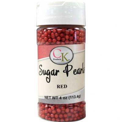 Red CK Sugar Pearls for cakes, cookies and cupcakes.