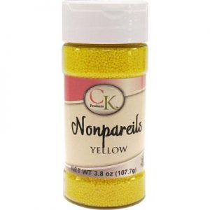 Yellow CK Nonpareils for cake decorating, cookies, cupcakes and candy