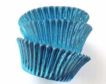 Sky Blue Foil Baking Cups