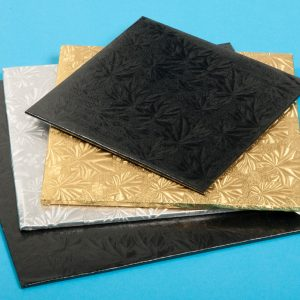 Silver Cake Boards in square shape for cakes, cookies, donuts and more