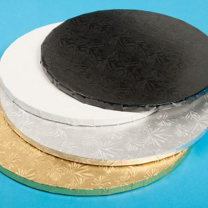 Round Drum Boards for Cake decorating. Comes in silver, white, gold and black