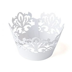 filgree cupcake wrapper white