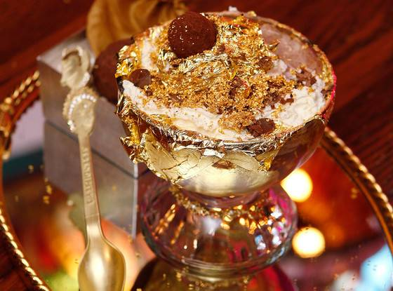 decadent ice cream sundae with edible gold leaf available from Create Distribution