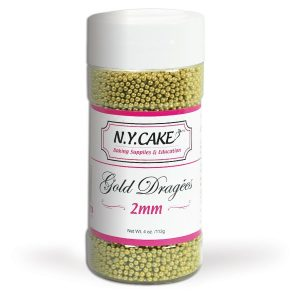 2mm gold dragee for cake decorating, cupcakes.