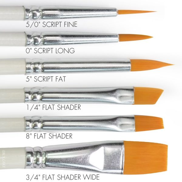 nylon round and flat brushes. Perfect to paint on fondant, chocolate and use with glitter and edible colours