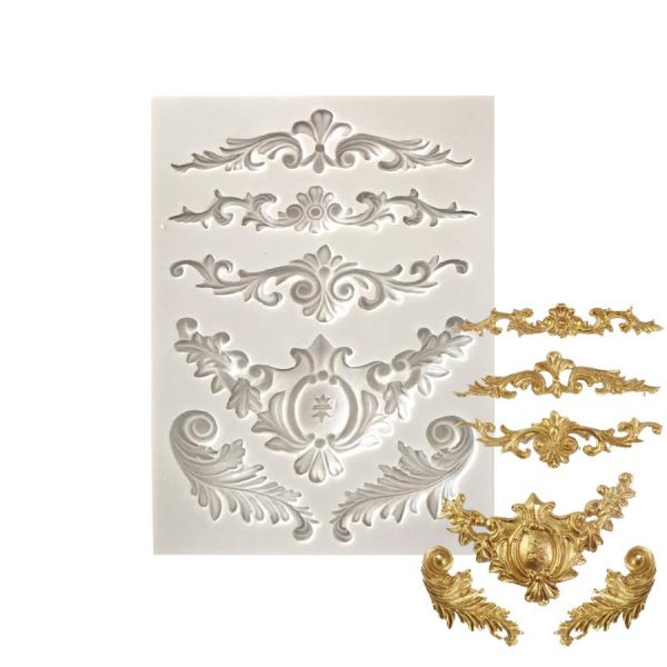 ornate border trim mold for gumpaste, chocolate and fondant. purchase on create distribution