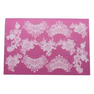 cake lace mat in Sweet Lace Pattern. Adorn cakes, cookies with a lace finish.