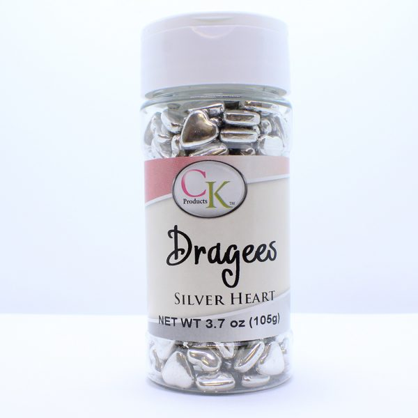 silver dragee hearts for cakes, cupcakes, brownies and show cakes