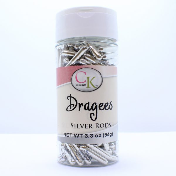 silver rod dragees for cakes, cupcakes and squares