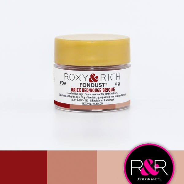 Brick Red fondust to colour fondant. Available for purchase at Create Distribution