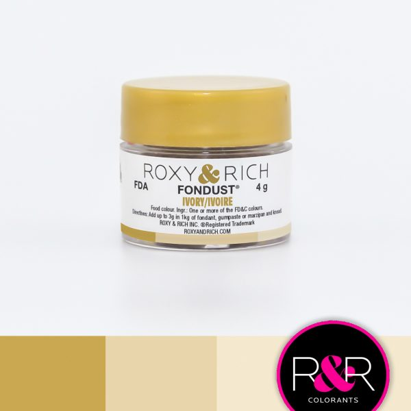 Ivory Fondust available for puchase at Create Distribution. Use with Fondant